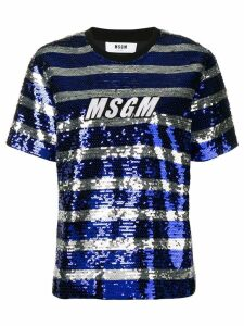MSGM sequin striped T-shirt - Blue