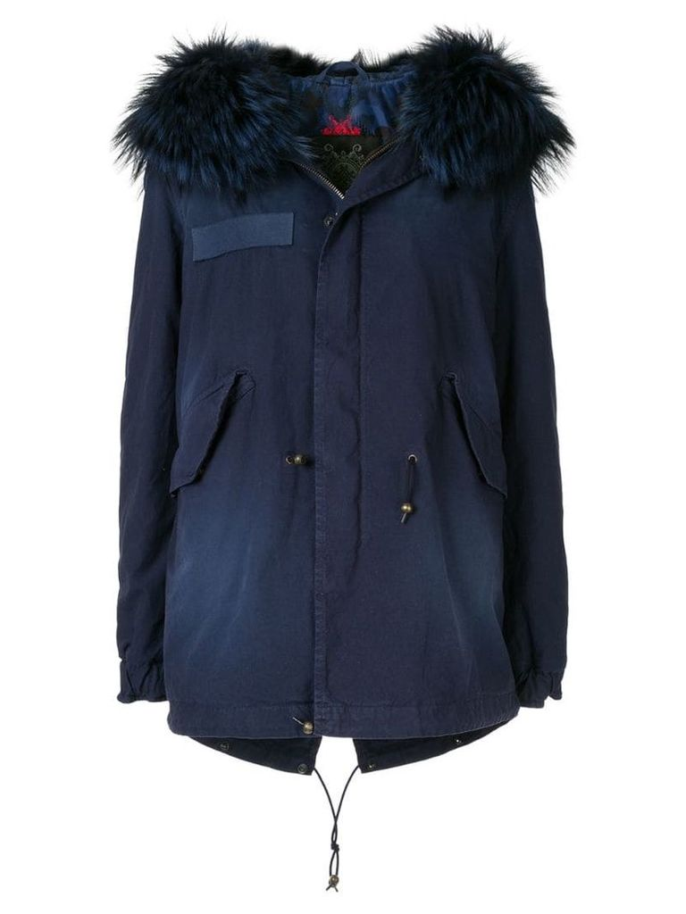 Mr & Mrs Italy fur-trim hooded parka coat - Blue