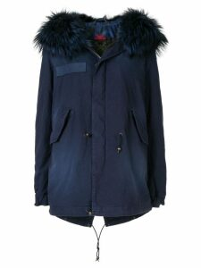 Mr & Mrs Italy fur-trim hooded parka coat - Blue