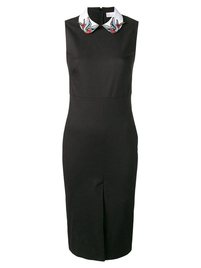 Red Valentino bird patch fitted dress - Black