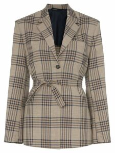 Wright Le Chapelain Weekend check print tie waist blazer jacket -