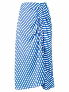 Steffen Schraut ruched striped skirt - Blue
