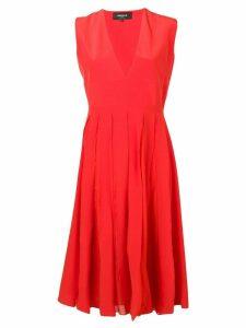 Rochas silk pleated dress - Red