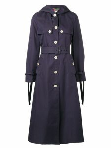 Gucci hooded long trench coat - 4755 NAVY