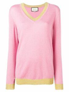 Gucci glittery contrast trim jumper - Pink