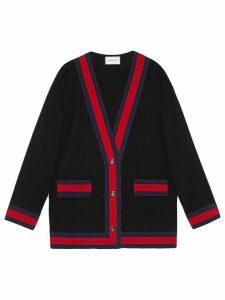 Gucci Tweed jacket with Web - Black