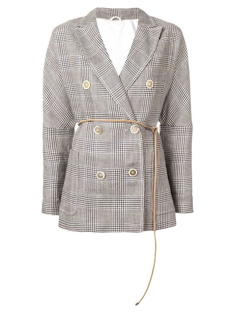 Brunello Cucinelli double breasted glen check blazer - Brown