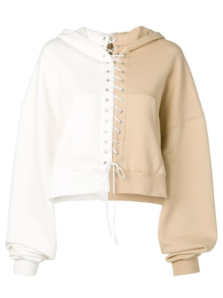 Unravel Project lace-up hoodie - Neutrals