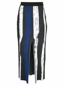 Derek Lam Knit Brush Stroke Jacquard Skirt with Front Slit - Blue