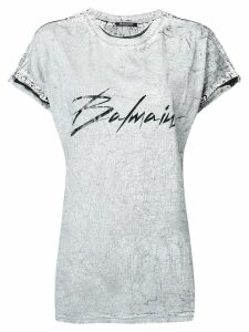 Balmain logo print distressed T-shirt - Grey