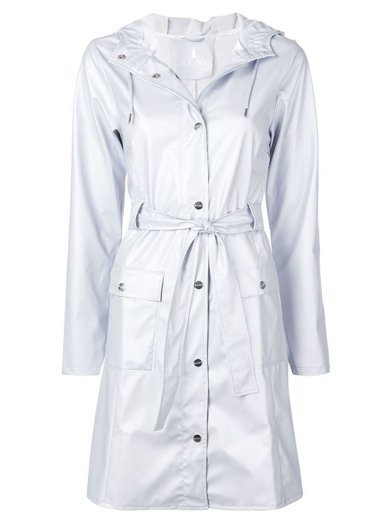 Rains metallic hooded raincoat - Grey