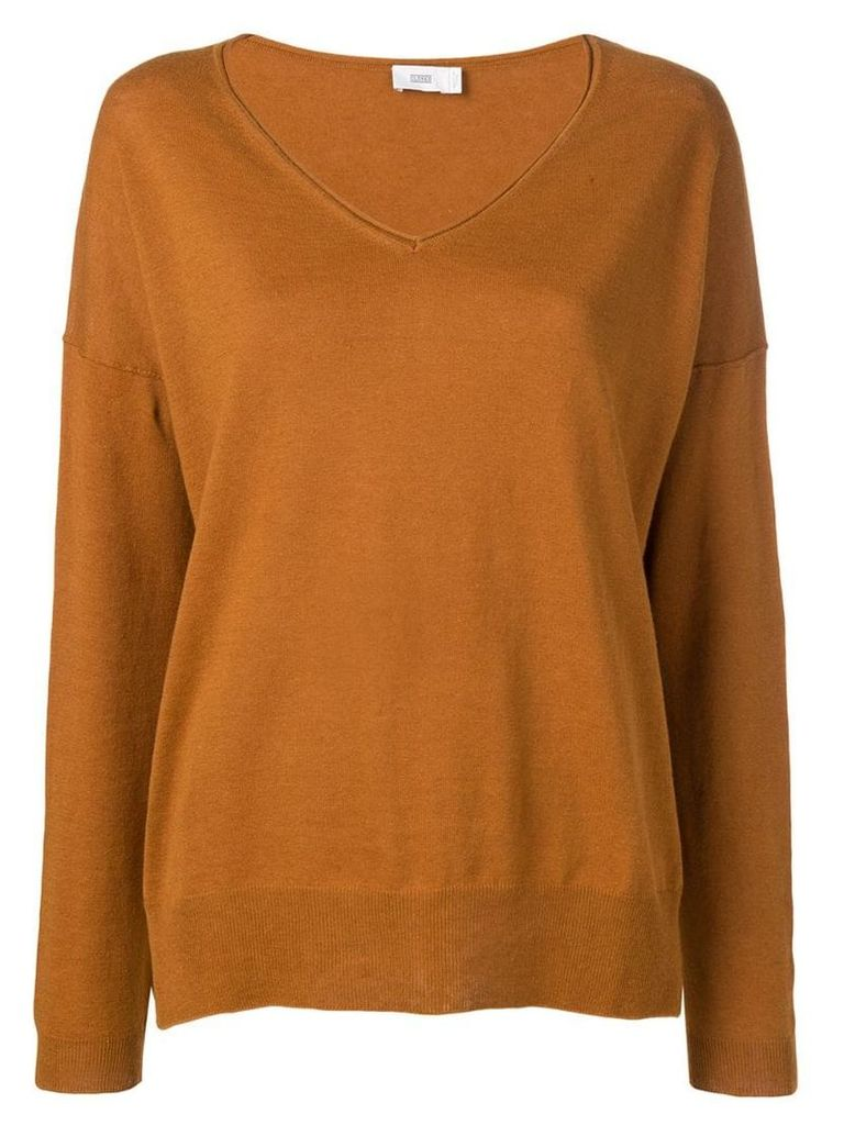 Closed loose V-neck sweater - Brown