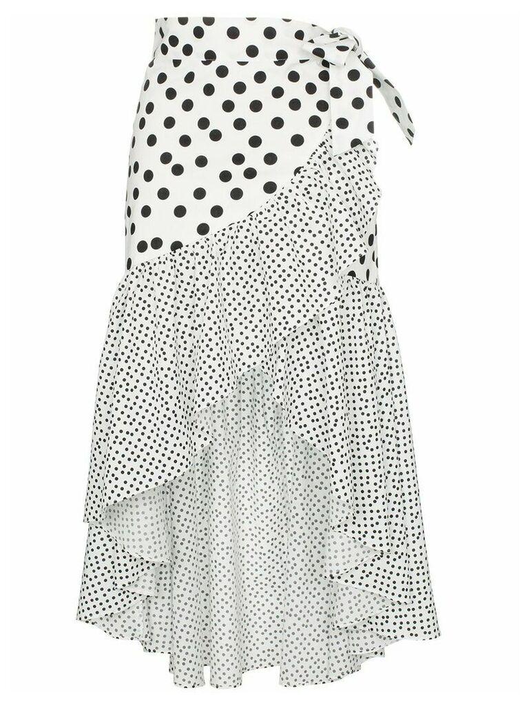 De La Vali Castana polka-dot ruffled-cotton wrap skirt - White