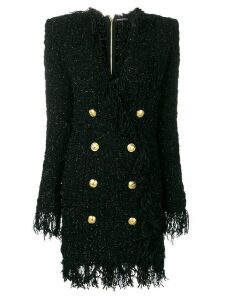 Balmain double-breasted fringed dress - Black