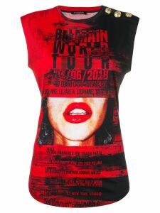 Balmain 'World Tour' printed top - Red