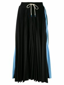 Facetasm colour block pleated skirt - Black