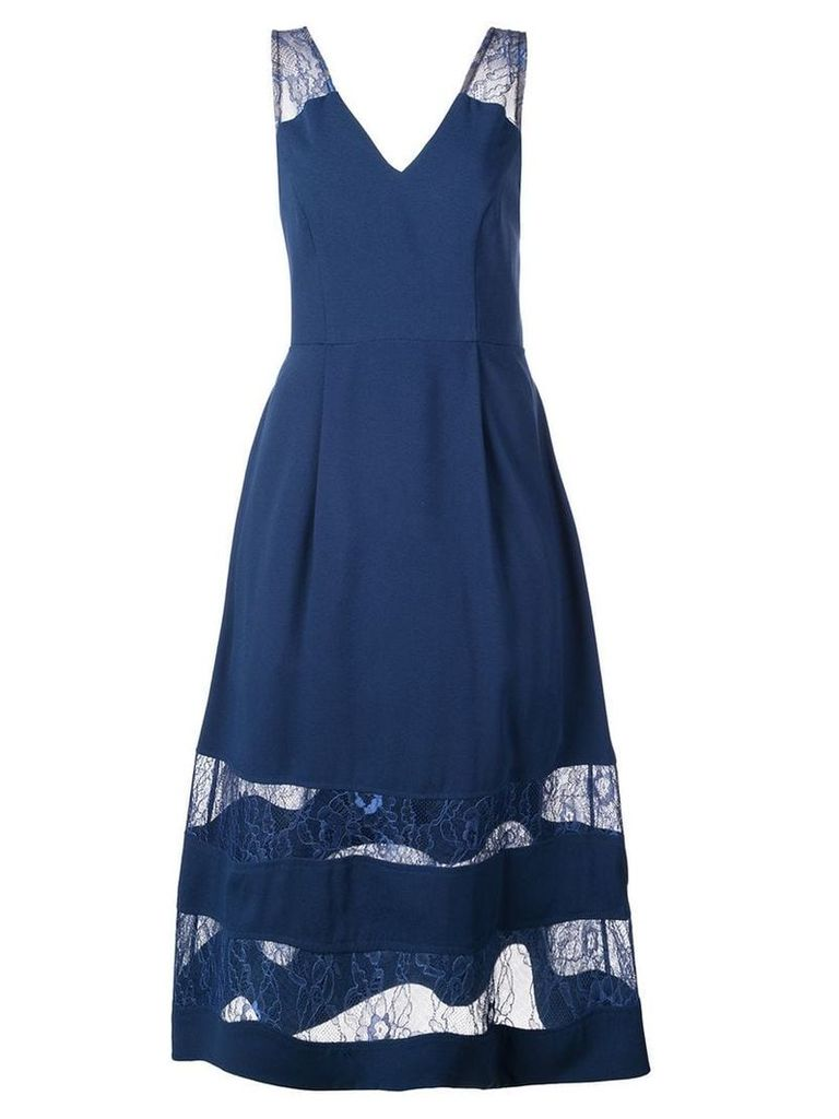 Aidan Mattox lace panel flared dress - Blue
