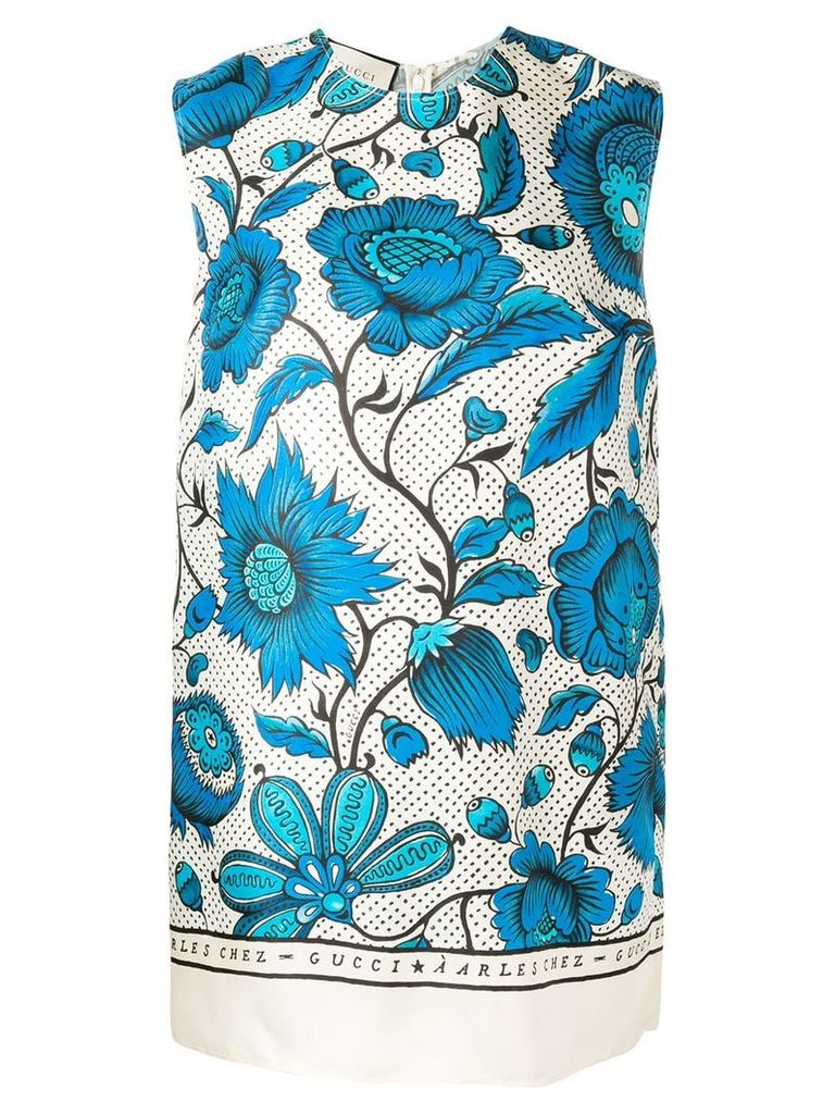 Gucci watercolour flowers tunic top - Blue