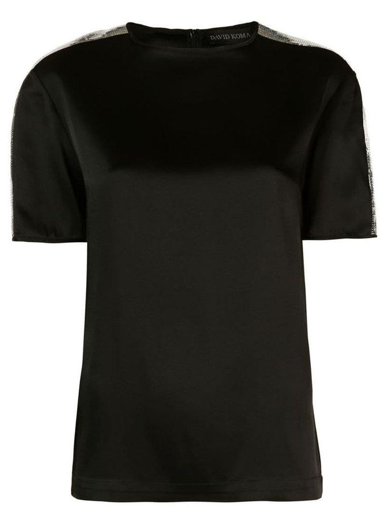 David Koma sequin shoulder T-shirt - Black