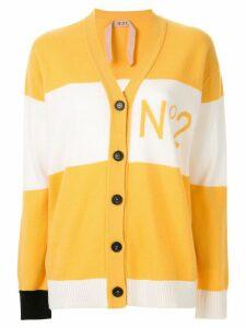 Nº21 striped logo cardigan - Yellow