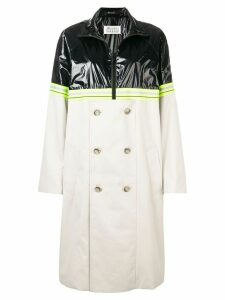 Maison Margiela colourblock half zip trench - Neutrals