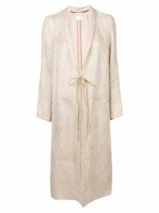 Forte Forte leaf embroidered coat - Neutrals