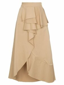 Johanna Ortiz Frou Frou cotton-blend ruffled wrap skirt - Neutrals