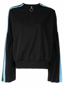 Facetasm flared sleeved henley sweatshirt - Black