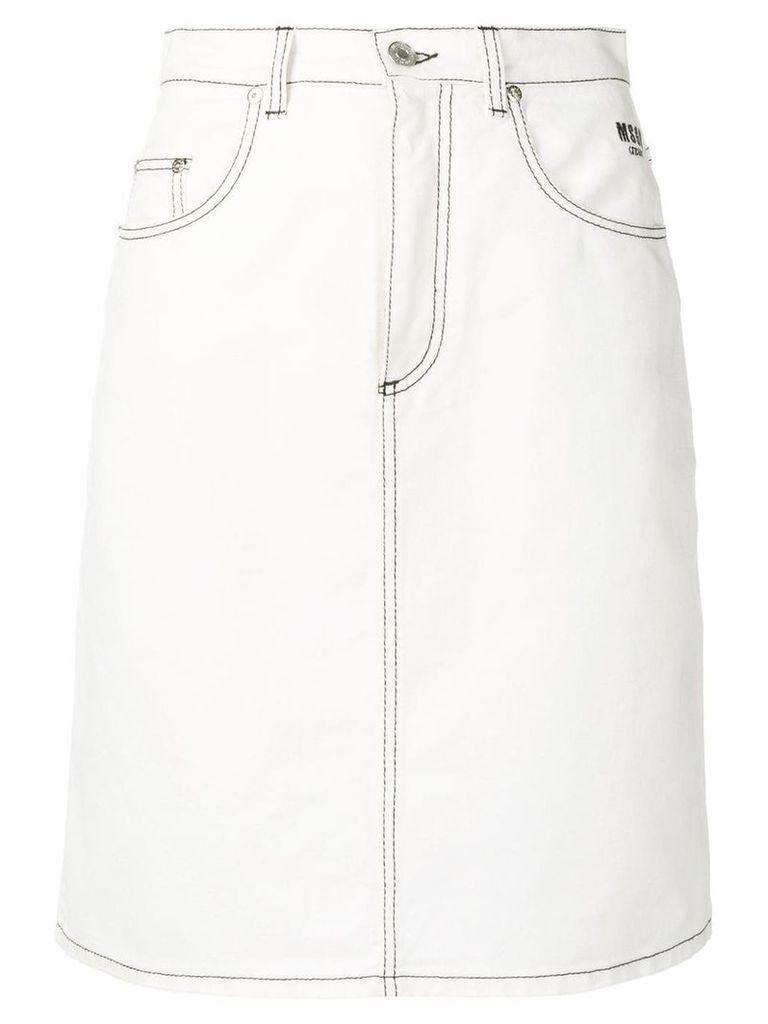 MSGM short denim skirt - White
