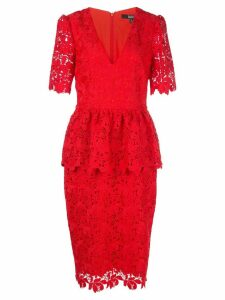 Badgley Mischka fitted lace dress - Red