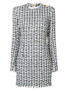 Balmain tweed-effect dress - Blue