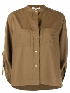 Vince collarless cropped sleeve shirt - Brown