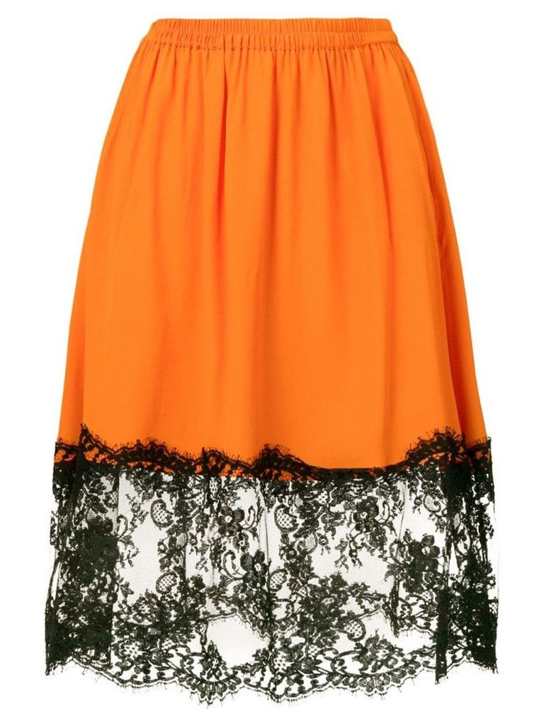 MSGM lace panel skirt - Orange