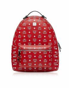 MCM Designer Handbags, Viva Red Stark Backpack w/White Logo Visetos 40