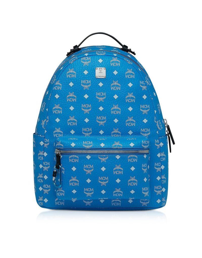 MCM Designer Handbags, Blue Stark Backpack w/White Logo Visetos 40
