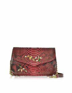 Ghibli Designer Handbags, Ruby Red Python Leather Medium Shoulder Bag w/Crystals