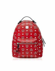 MCM Designer Handbags, Viva Red Stark Backpack w/White Logo Visetos 32