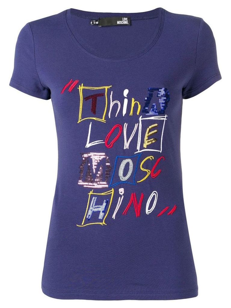 Love Moschino embroidered slim fit T-shirt - Blue