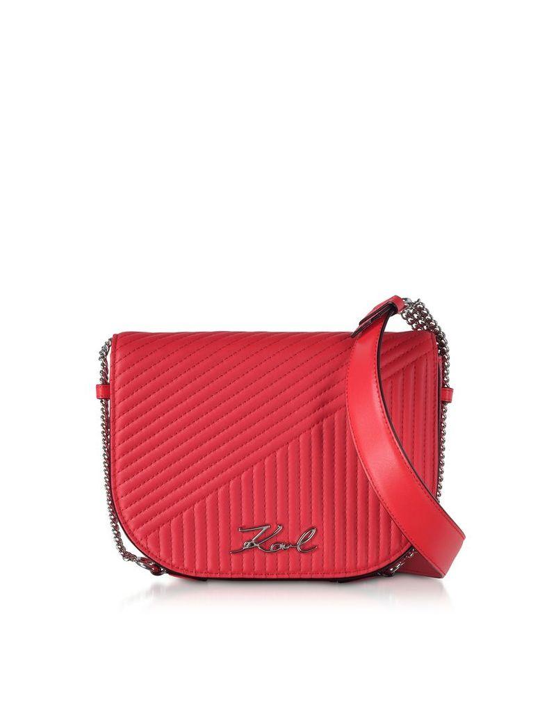 Karl Lagerfeld Designer Handbags, K/Signature Fire Red Quilted Leather Shoulder Bag