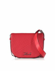 Karl Lagerfeld Designer Handbags, K/Signature Fire Red Quilted Leather Shoulder Bag