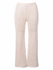 Alberta Ferretti cropped crochet trousers - Neutrals