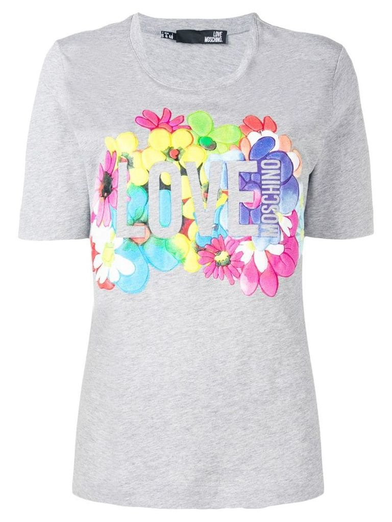Love Moschino floral logo T-shirt - Grey