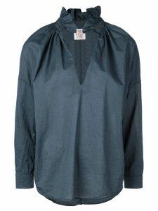 A Shirt Thing frilled split neck shirt - Blue