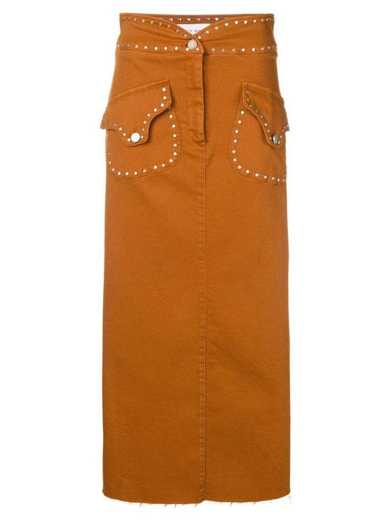 Alberta Ferretti studded high rise skirt - Brown