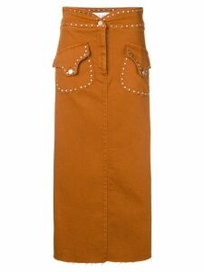 Alberta Ferretti studded high rise skirt - Brown