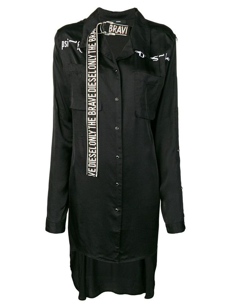 Diesel embroidered overshirt - Black