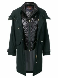 Woolrich hooded coat with quilted gilet - Black