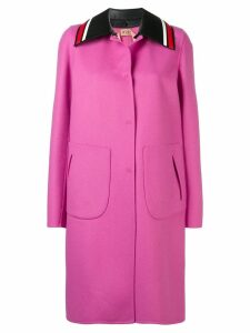 Nº21 contrast striped collar coat - Pink