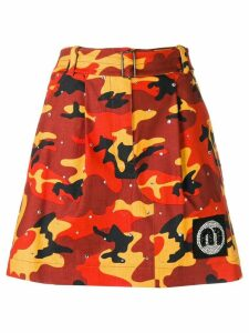 Miu Miu camouflage a-line skirt - Orange