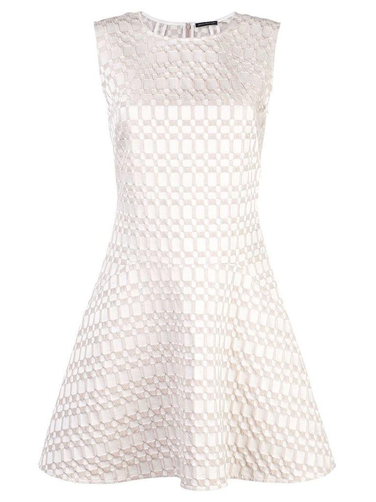 Josie Natori jacquard fit and flare dress - White